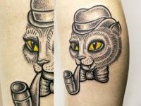 Татуировка кот с трубкой