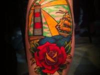 Татуировка маяк и роза