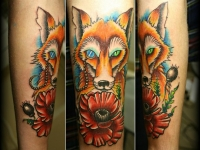 Татуировка лисица на предплечье