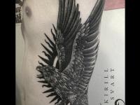 Татуировка орла закрывающего солнце крыльями на боку
