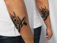 Татуировка черепаха на предплечье