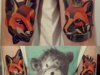 Татуировка лисица на плече