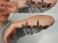 Татуировка город на предплечье