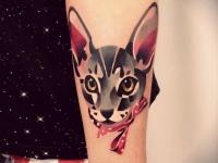 Татуировка кошка на предплечье
