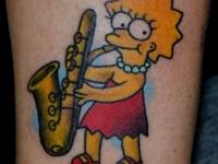 Татуировка Симпсон на икре