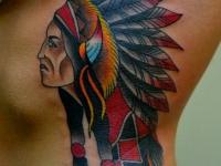 Татуировка голова индейца