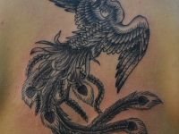 Татуировка Жар-птица на спине