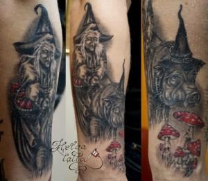 татуировка tattoo ведьма кабан и грибы