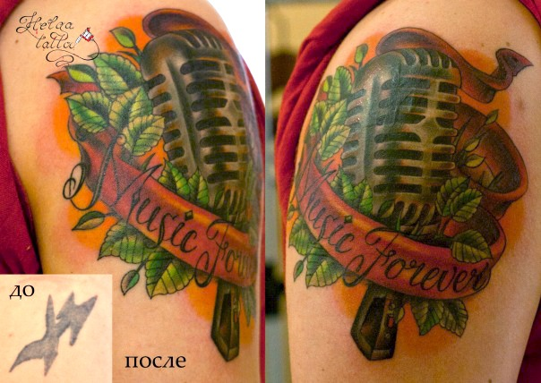 перкрытие тату cover up old school tattoo