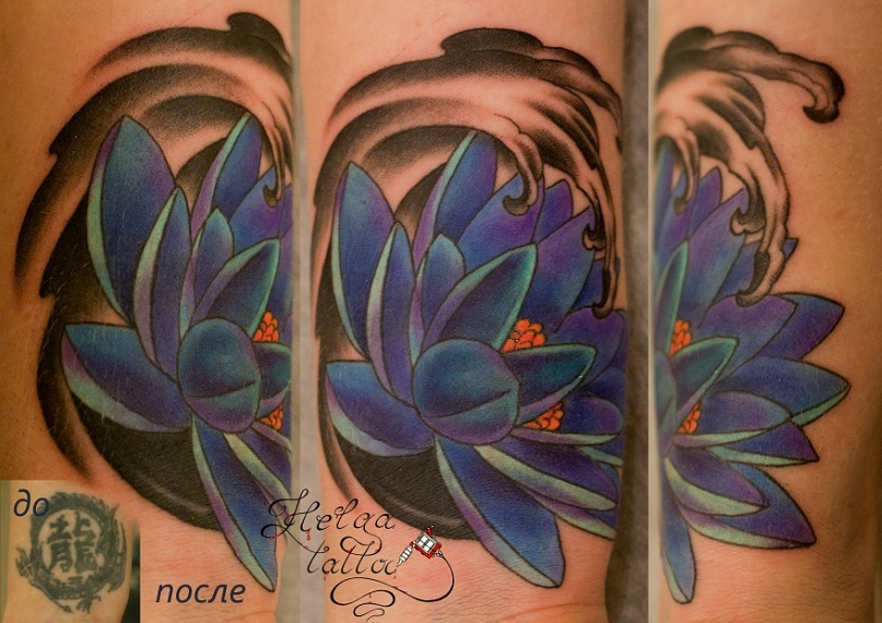 перекрытие некачественной татуировки cover up японская тату ориентал