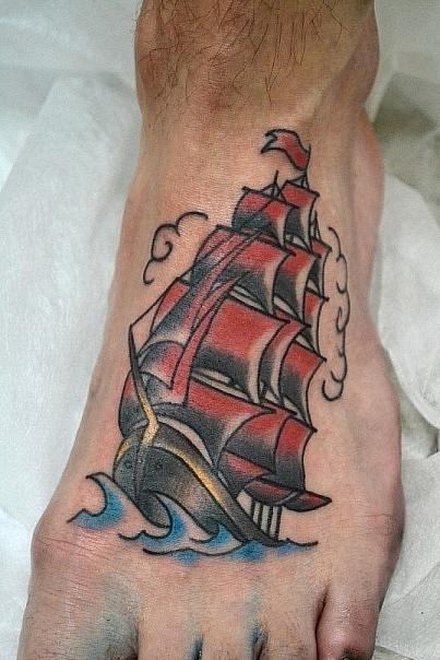 Татуировка парусник корабль алые паруса Эскиз Jaclyn Rehe с изменениями