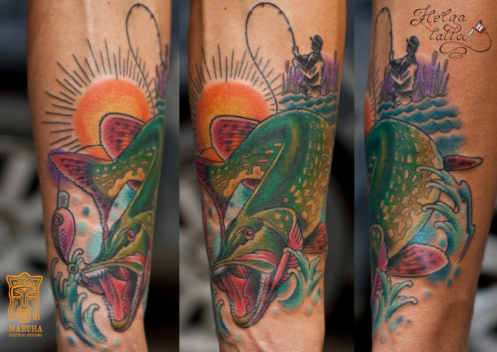 тату рыбалка neo traditional tattoo традиционная татуировка цветная мужская