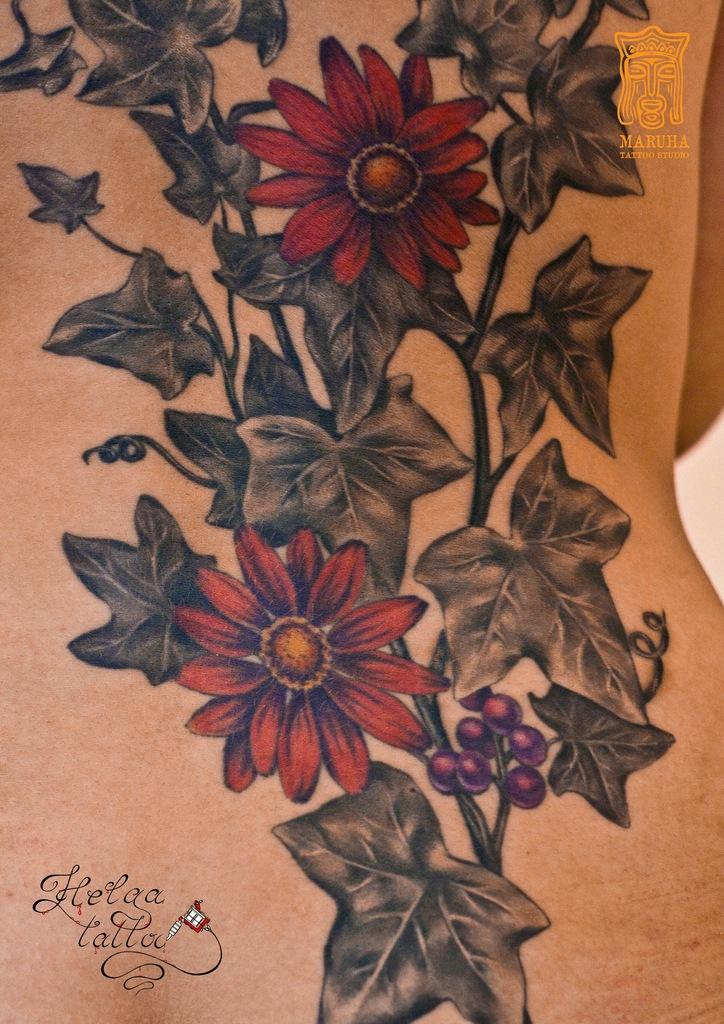 тату плющ цветы женская татуировка