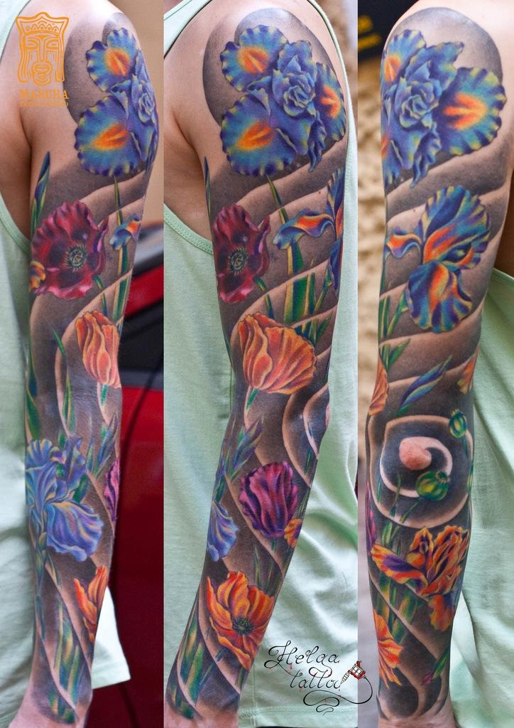тату рукав цветная цветы poppy tattoo япония ориентальная татуировка