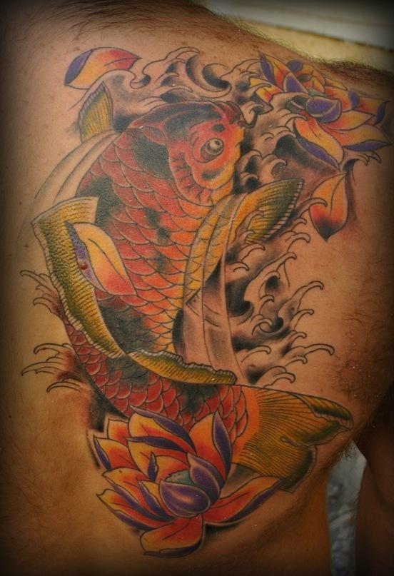 японский стиль, карп,ориентал, традиционная татуировка, татуировка  лотосы, студия татуировки, мастер Чирков Игорь. Салон татуировки.