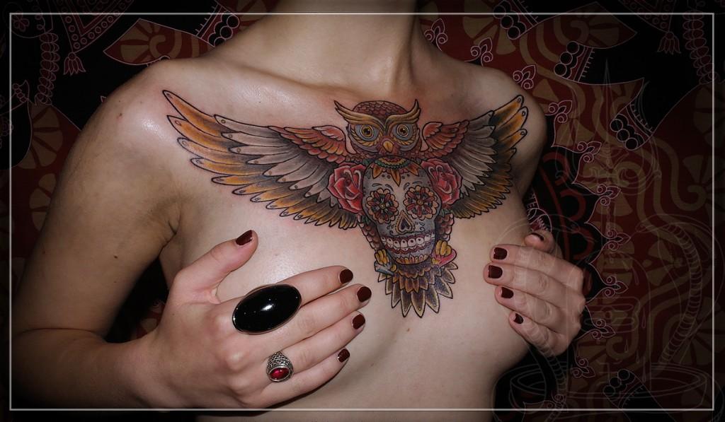 artist tattoo, tattoo, owl tatto, skull tattoo, tattoo owl with skull, художественная татуировка, татуировка совы, тату совы с черепом, татуировка сова с черепом