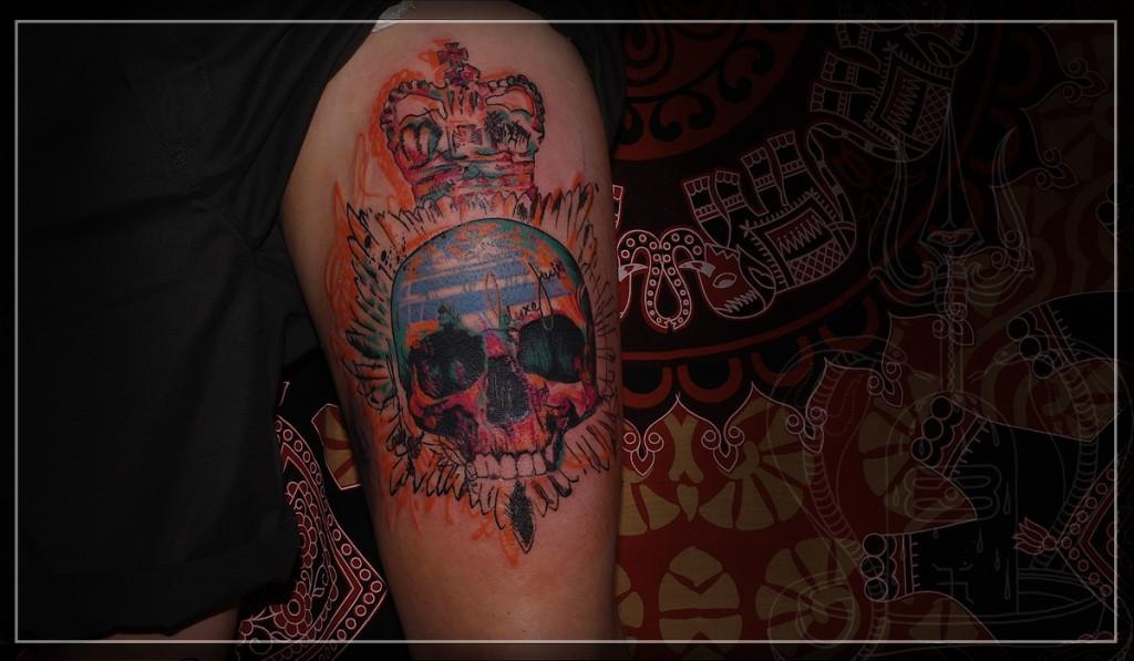 Художественная татуировка, татуировка черепа, тату стрит-арт, эксклюзивная татуировка, artist tattoo, tattoo skull, skull, street-art