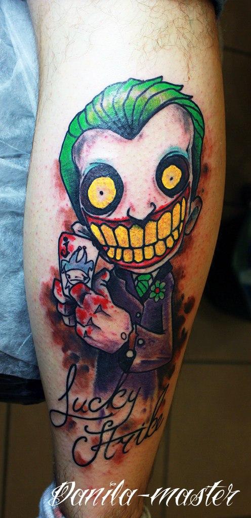 Татуировка на ноге Джокер. Данила - Мастер.