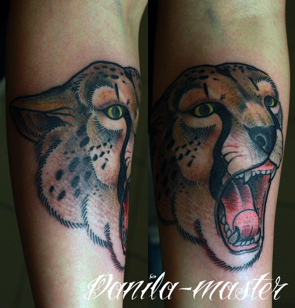 Художественная татуировка морды гепарда. Данила - Мастер.