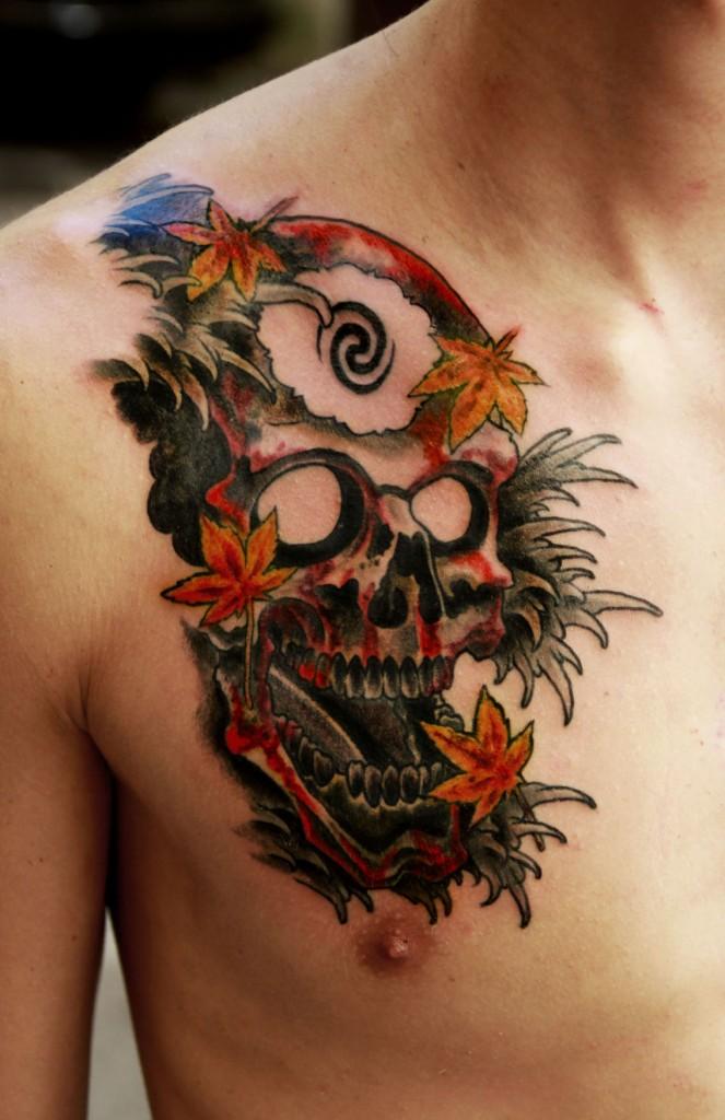 """Художественная татуировка """"Череп"""". Мастер Павел Заволока."""
