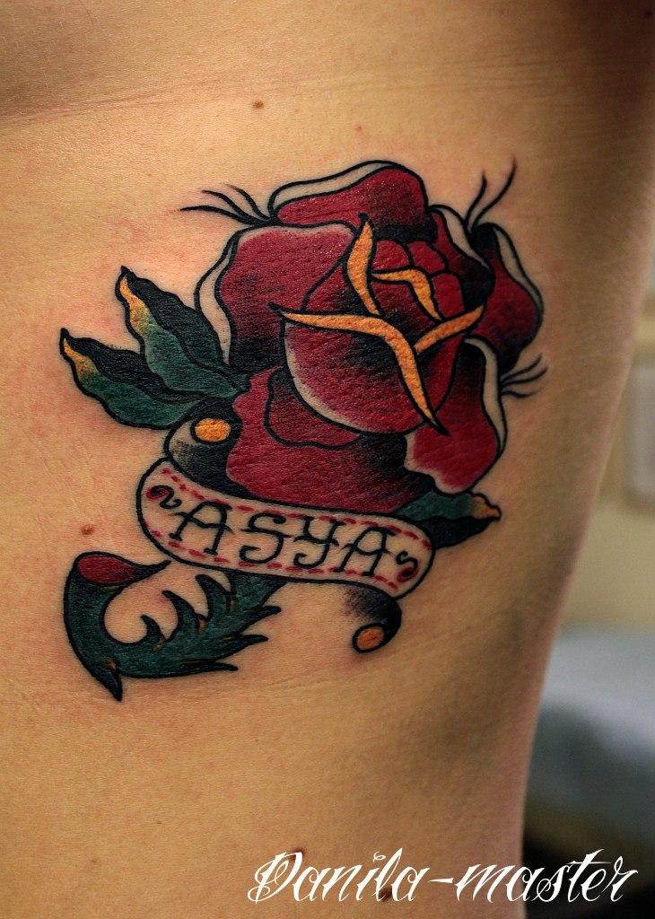 Художественная татуировка Роза Ася. Данила - мастер.