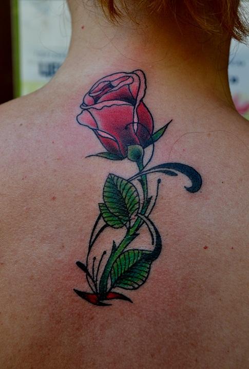 Татуировка выполнена на спине, 1 небольшой сеанс, мастер Виолетта.