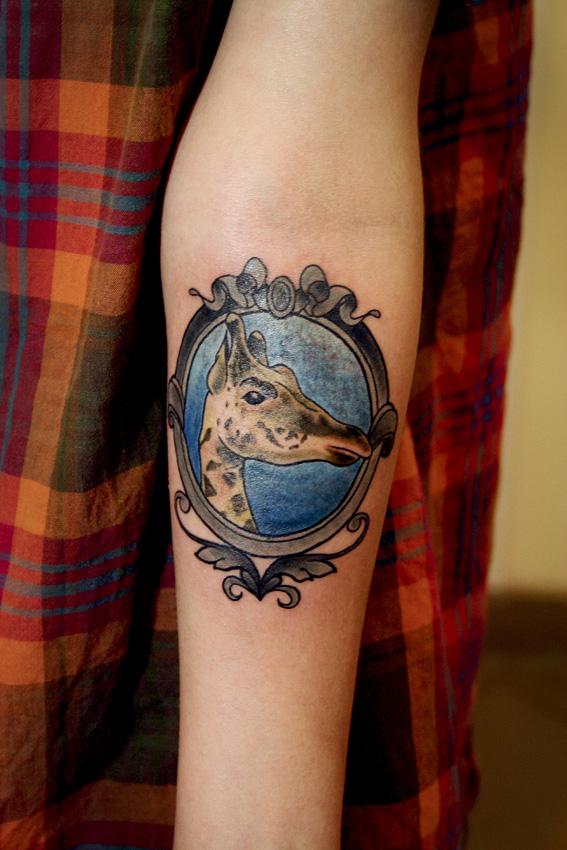 """Художественная татуировка """"Жираф"""". Мастер Саша Новик. Расположение: предплечье."""