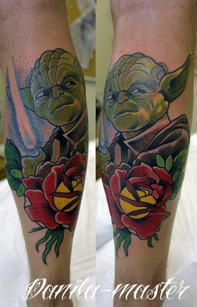 """Художественная татуировка """"магистр Йода"""". Данила-мастер."""