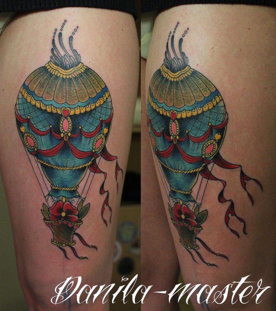 """Художественная татуировка """"Воздушный шар"""" Данила-мастер."""