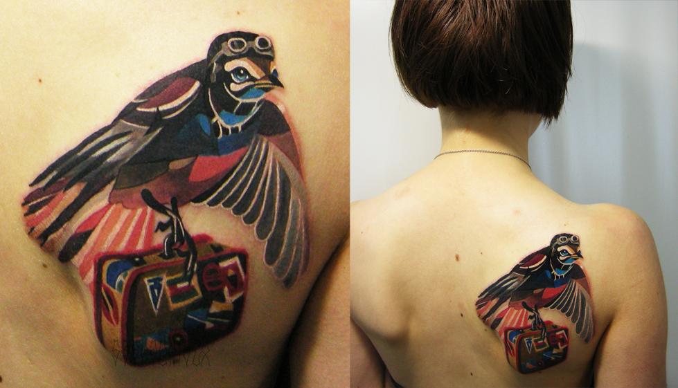 """Художественная татуировка """"Перелетная птица"""". Мастер Саша Unisex. Расположение: лопатка"""