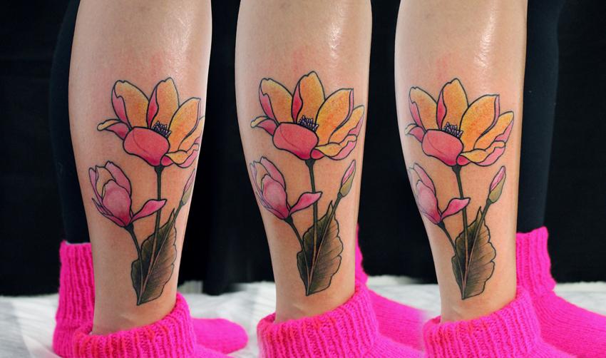 """Художественная татуировка """"Цветок"""". Мастер Саша Новик."""