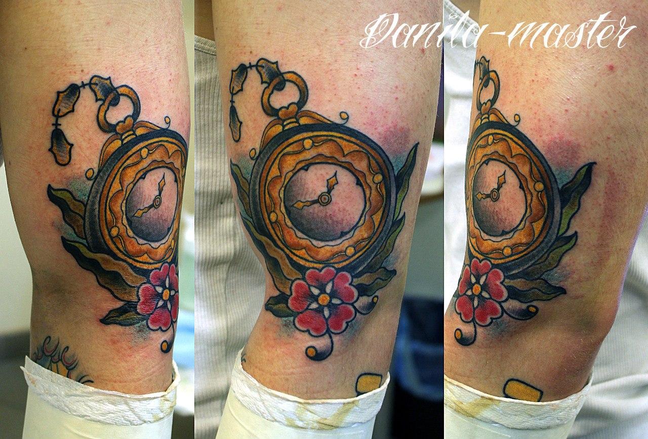 """Художественная татуировка.""""Часы"""".Данила-мастер."""