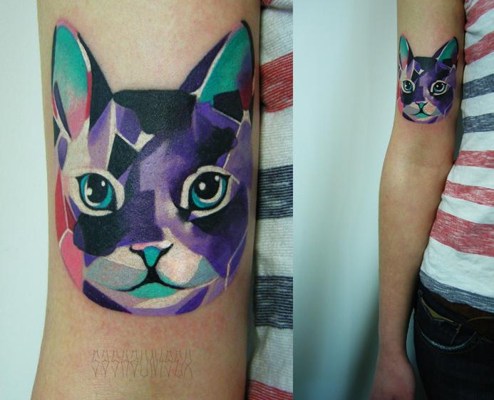 """Художественная татуировка """"Котик"""". Мастер Саша Unisex."""