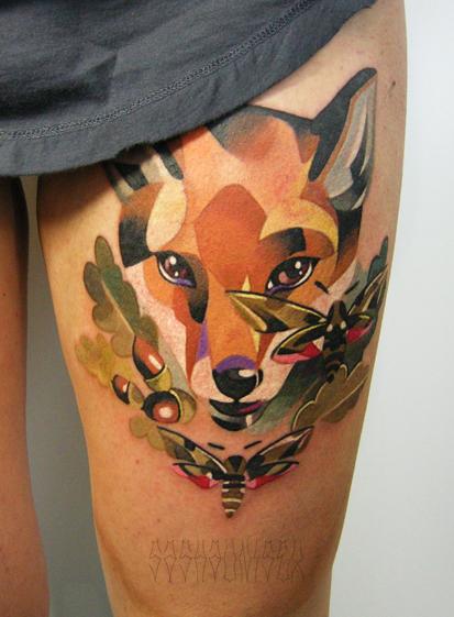 """Художественная татуировка """"Лиса"""". Мастер Саша Unisex."""