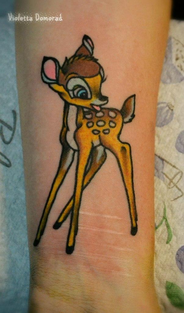 Татуировка Олененок Бэмби. Мастер Виолетта Доморад.