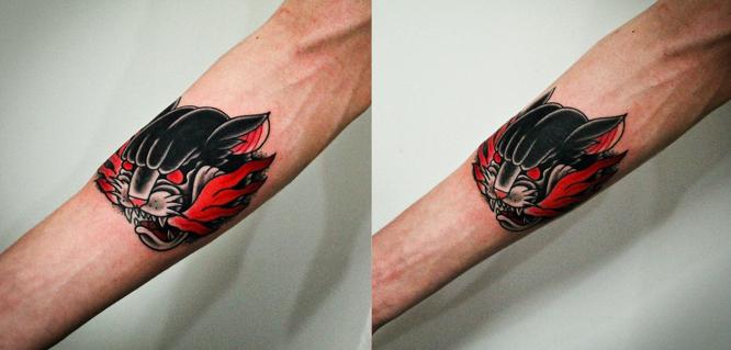 """Художественная татуировка """"Пантера"""". Мастер Денис Марахин."""