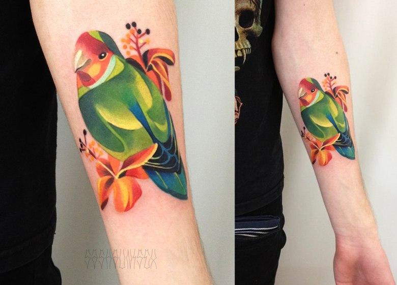 Художественная татуировка «Попугай Рикки». Мастер Саша Unisex