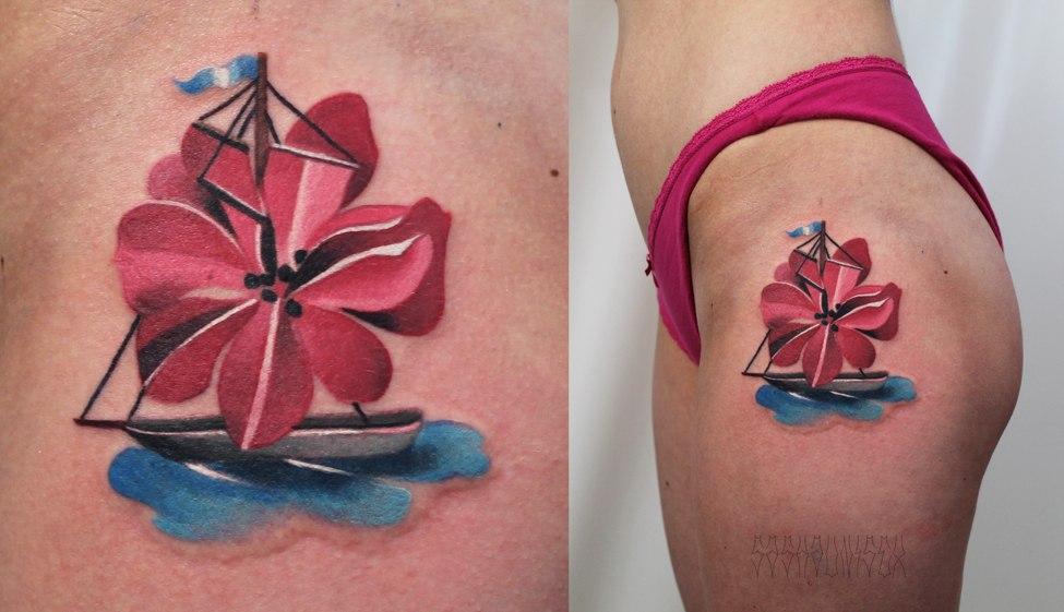 """Художественная татуировка """"Кораблик"""". Мастер Саша Unisex."""