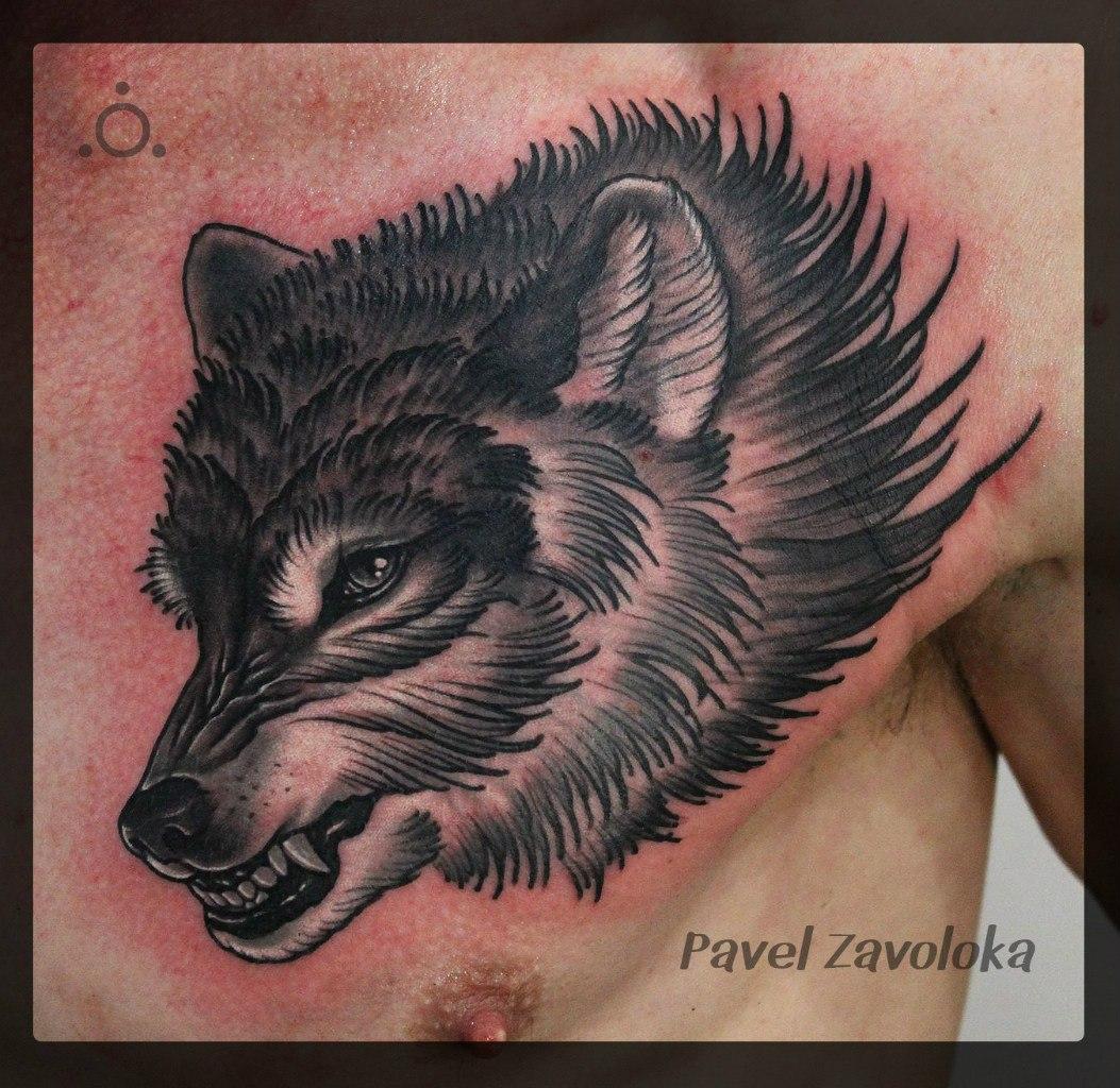 """Художественная татуировка """"Волк"""". Мастер Павел Заволока."""