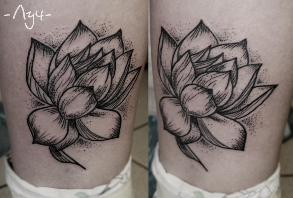 """Художественная татуировка """"Лотос"""". Мастер Катя Лучникова."""