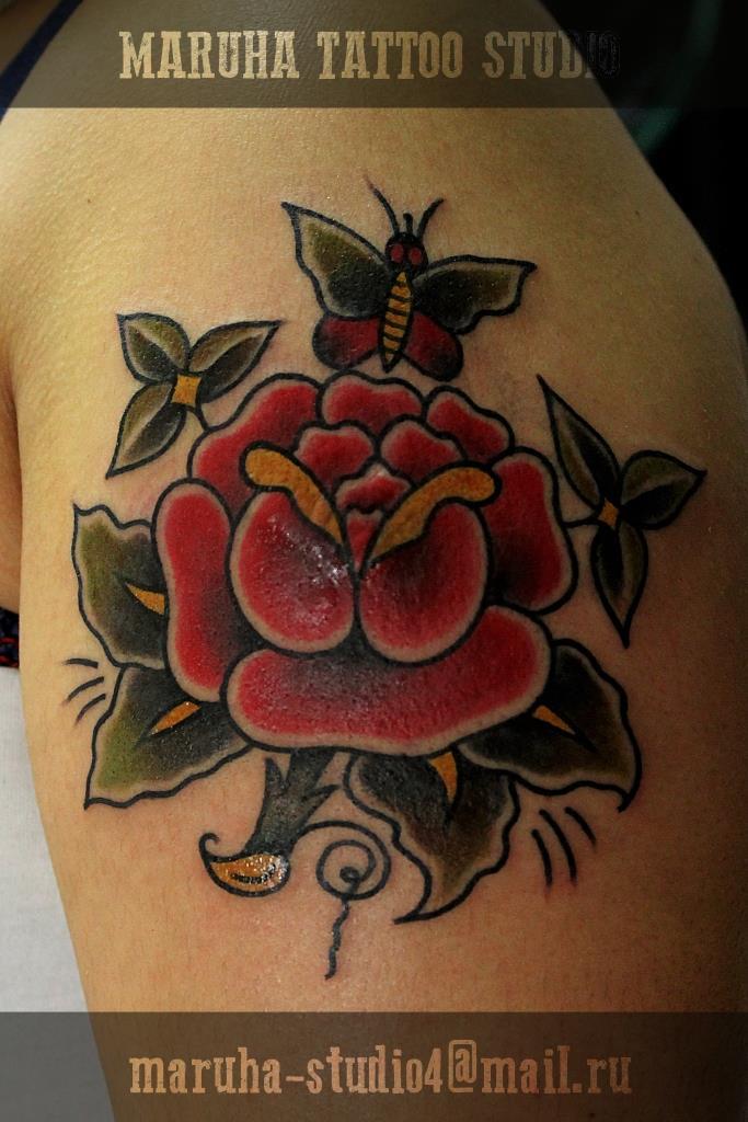 """Художественная татуировка """"Роза"""". Мастер Валера Моргунов."""