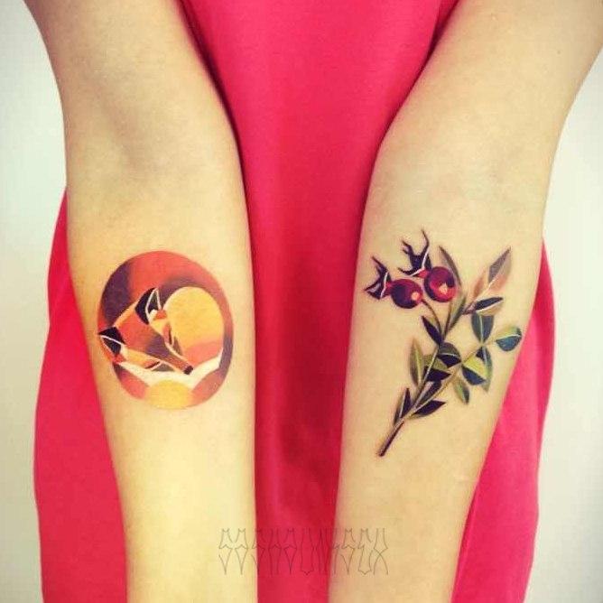 """Художественные татуировки """"Лиса"""" и """"Шиповник"""". Мастер Саша Unisex."""