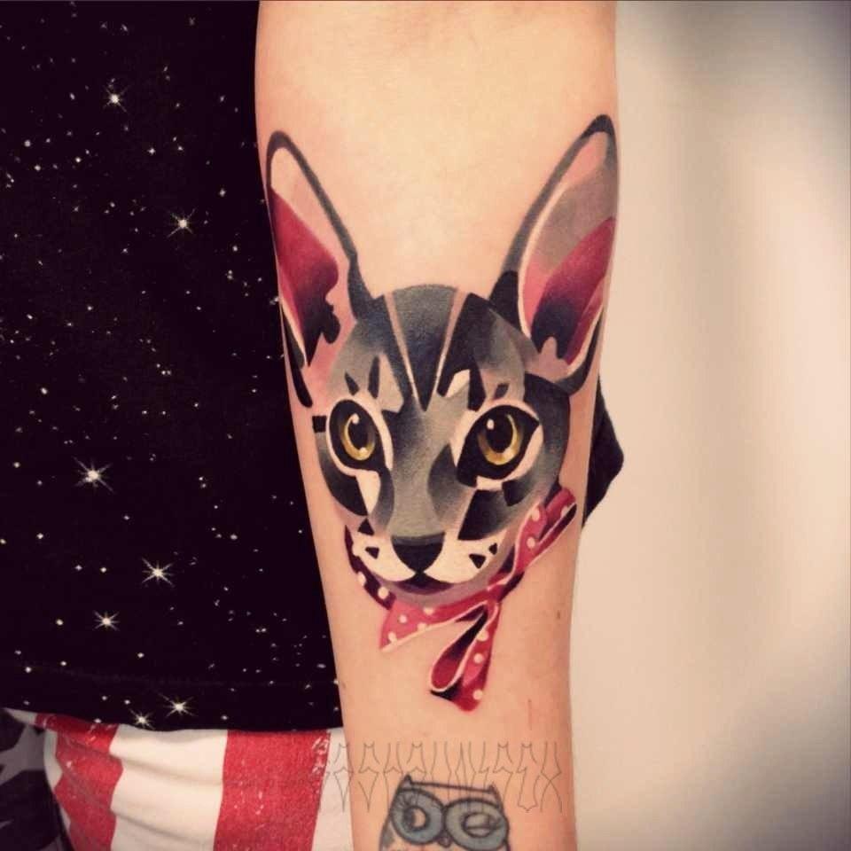 """Художественная татуировка """"Котик"""" от Саши Unisex"""