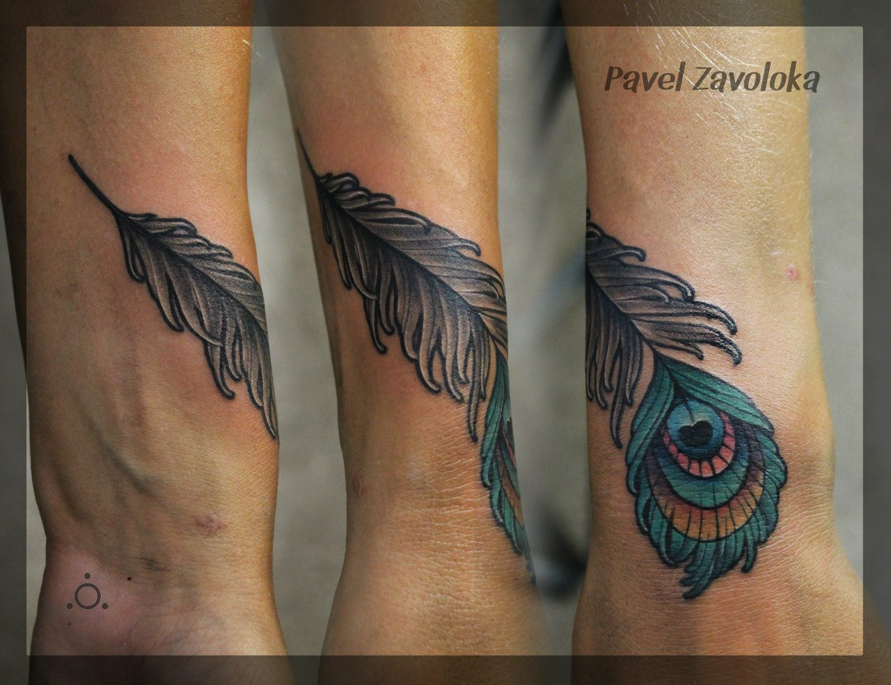 """Художественная татуировка """"Перо павлина"""". Мастер Павел Заволока."""