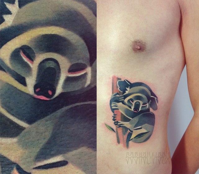 """Художественная татуировка """"Коала"""". Мастер Саша Unisex."""