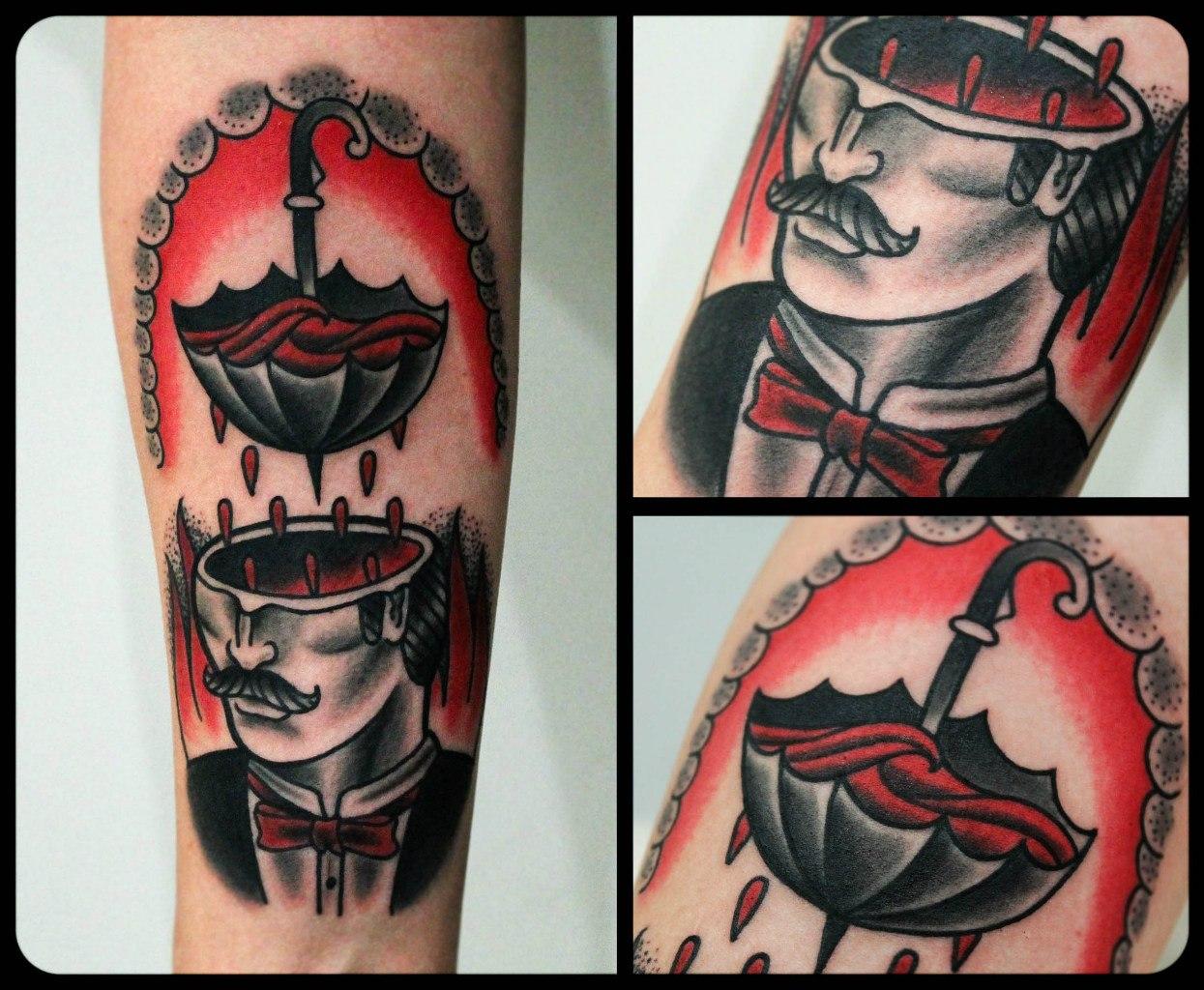 """Художественная татуировка """"Мужик"""" от мастера Дениса Марахина."""