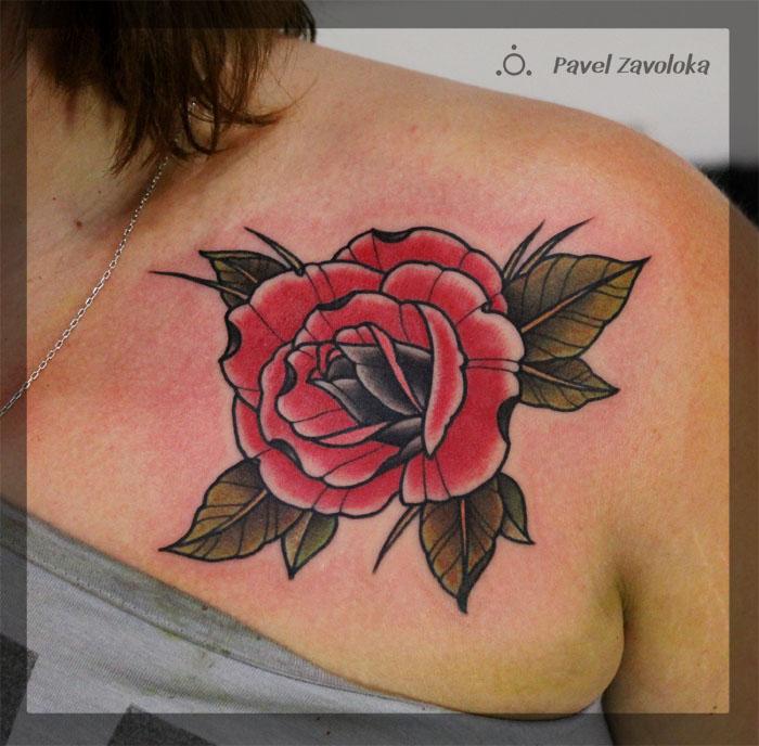 """Художественная татуировка """"Роза"""". Мастер Павел Заволока."""