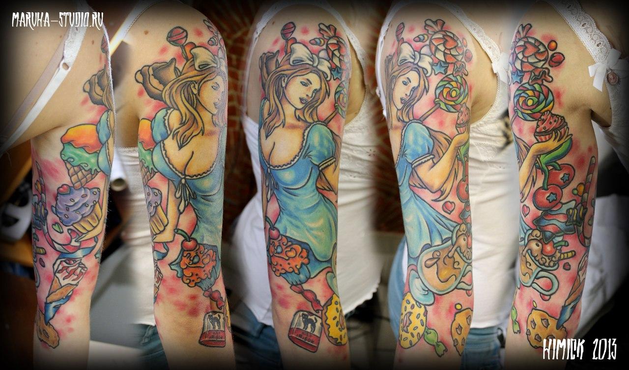 """Художественная татуировка """"Сладкий рукав"""" от Евгения Химика"""
