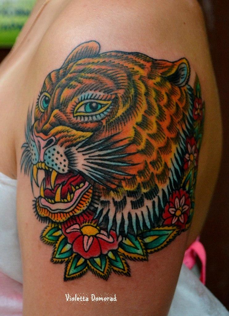 Татуировка тигр. Мастер Виолетта Доморад.