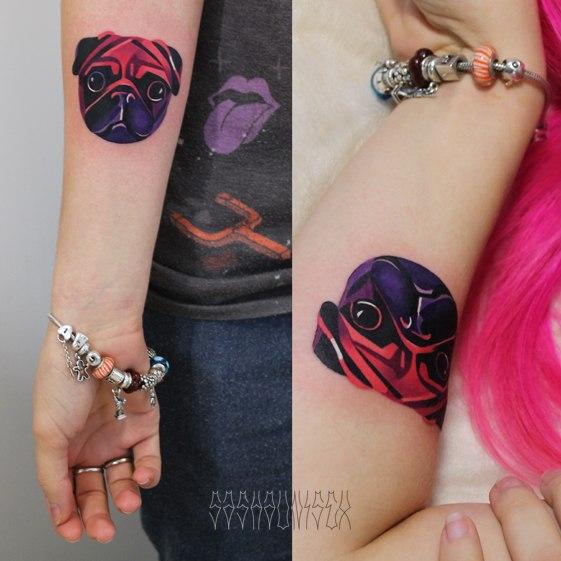 Художественная татуировка «Мопс». Мастер Саша Unisex.